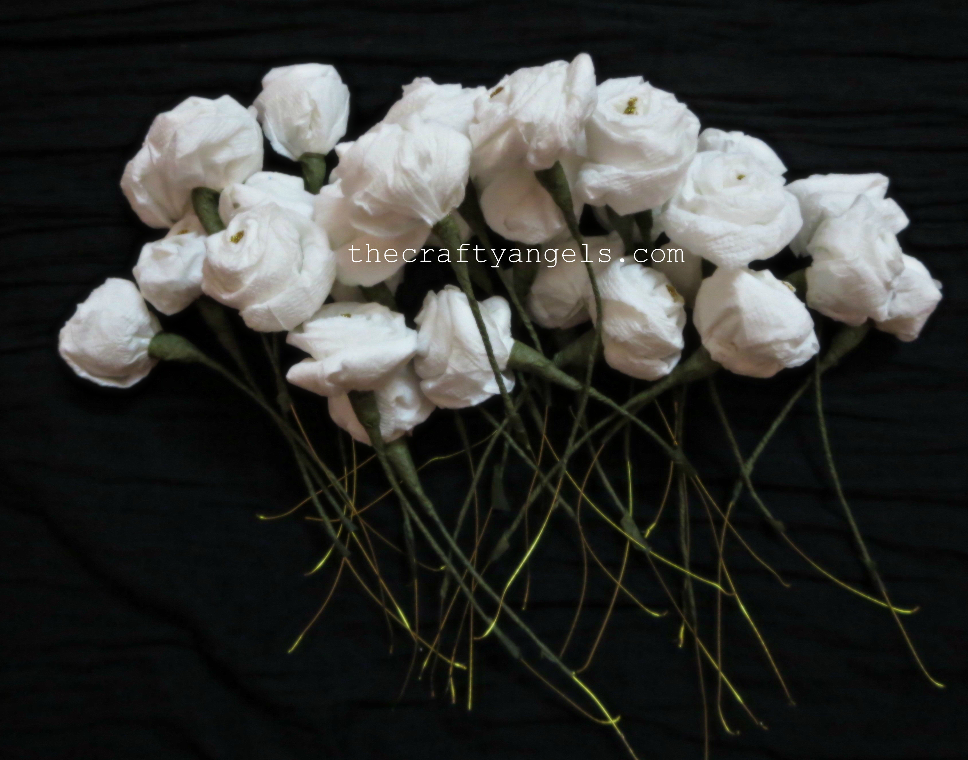 How To Make Tissue Paper Rose Flowers 8